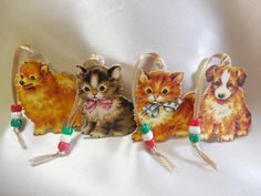 Set of 4 Adorable Puppy and Kitten Christmas Tree Ornaments: Dog Rescue Support - pinned by pin4etsy.com
