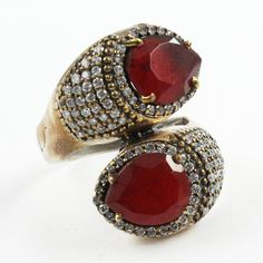 Ruby Agate & Cubic Zirconia Stone Beautiful Design 925 Sterling Silver Ring - Jaipur Silver India by JaipurSilverIndia on Etsy
