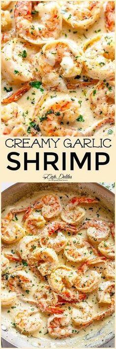 Creamy Garlic Shrimp With Parmesan (Low Carb) - Cafe Delites - Yummy Food - Shrimp Recipes Creamy Garlic Shrimp Recipe, Cooked Shrimp Recipes, Shrimp Recipes For Dinner, Seafood Dinner, Fish Recipes, Seafood Recipes, Low Carb Recipes, Cooking Recipes, Healthy Recipes