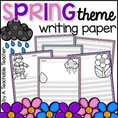 Spring Writing Paper includes publishing pages with a cute border, spring clip art and half a page of handwriting lines for primary students These are perfect for final drafts, writing centers, fast finishers…the possibilities are endless! Papers include rain clouds, flowers, bees, butterflies, and many more! | spring paper kindergarten first grade writing assignments writing prompts kindergarten writing workshop