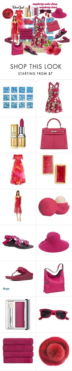 """""""raspberry beret & swim dress"""" by caroline-buster-brown ❤ liked on Polyvore featuring William Stafford, Elizabeth Arden, Hermès, Naeem Khan, Karen London, self-portrait, Eos, Chaco, San Diego Hat Co. and FitFlop"""