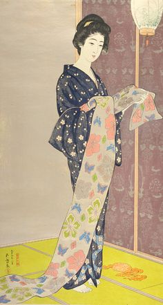 Woman in a Summer Kimono (Kaso no musume) | August 1920 | Hashiguchi Goyō (Japanese, 1880-1921)  | Taisho era | Woodblock print; ink, color and mica on paper | Japan | Arthur M. Sackler Gallery | S1993.48