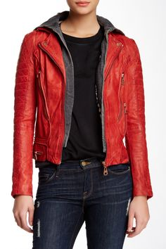 Detachable Hood Genuine Leather Zip Jacket
