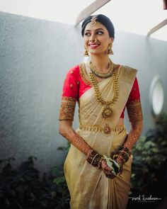 Call/WhatsApp : Unique and thoughtful craftsmanship makes our outfit different and even reserves its value for the future. Kerala Wedding Saree, South Indian Wedding Saree, South Indian Bridal Jewellery, Indian Wedding Bride, Indian Bridal Sarees, Indian Bridal Outfits, Indian Bridal Fashion, Indian Bridal Wear, Saree Wedding