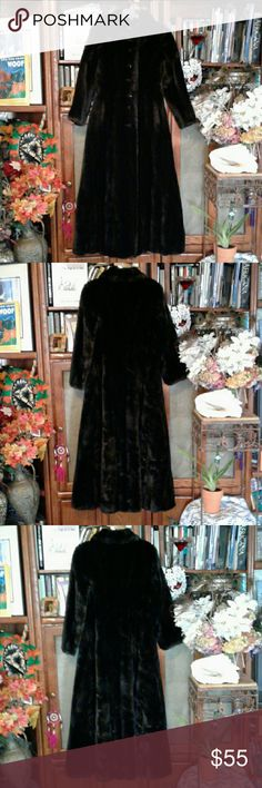 VINTAGE GRANDELLA FUR LENGTH FAUX FUR PLUSH, PLUSH, PLUSH, STYLED BY SPORTOWNE, FULLY LINED, ARM PIT TO ARM PIT 18 INCHES, 50 INCHES LONG, 21 INCH SLEEVES, SOME LINING DISCOLORATION, OTHER THAN THAT GREAT VINTAGE CONDITION GRANDELLA Jackets & Coats