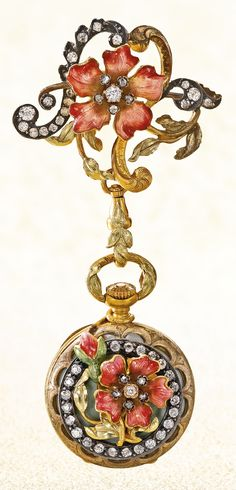 A YELLOW GOLD, ENAMEL AND DIAMOND-SET PENDANT WATCH WITH BROOCH CIRCA 1900
