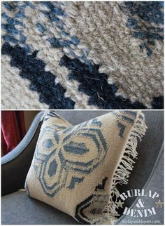 Turn a Pottery Barn rug swatch into a pillow sham! This easy DIY tutorial shows you how to make a dhurrie style pillow for a fraction of the cost. Make them to match your Pottery Barn rug! Denim Blog, Quilt Display, Sewing Projects, Diy Projects, Red Wagon, Creative Outlet, Diy Pillows, Pillow Shams, Pottery Barn