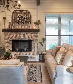 Fireplace. Brick and shiplap