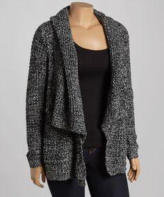 Loving this Black & Gray Open Cardigan - Plus on #zulily! #zulilyfinds