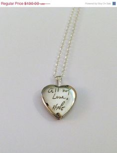 ONLY SALE FOR 2014 Personalized handwriting engraved heart locket in sterling silver (up to 15 letters)