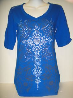 Cobalt blue half sleeve top with cross design.  Size Small