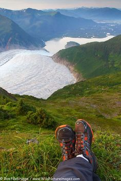 Hiker on Mount Stroller White above the Mendenhall Glacier, Tongass National Forest, near Juneau, Alaska
