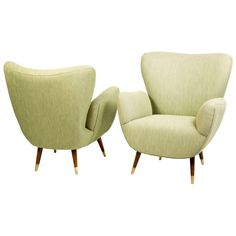 Pair Italian Mid Century Wing Back Arm Chairs | www.1stdibs.com