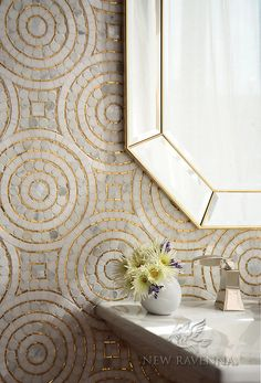 Ideas Kitchen Wall Tiles Mosaic Bathroom For 2019 Ravenna Mosaics, Mosaic Bathroom, Stone Bathroom, Mosaic Wall, Bathroom Wall, Bathroom Ideas, Mosaic Floors, Mosaic Tiles, Gold Bathroom