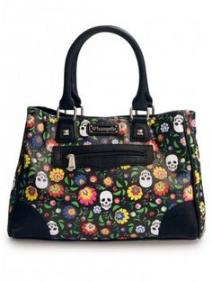 """Floral Skull"" Tote by Loungefly (Black) 