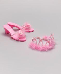 Look what I found on #zulily! Pink Rhinestone Tiara & Shoes #zulilyfinds