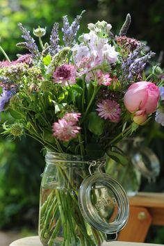 kilner jar filled with summer flowers