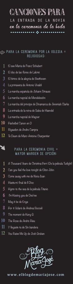 Canciones para la entrada de la novia en la ceremonia de la boda: