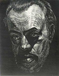 Self Portrait - Victor Delhez - wood engraving