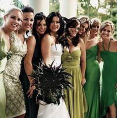Non-matching bridesmaids dresses: I am so doing this. The clone look drives me nuts