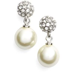 Givenchy 'Fireball' Faux Pearl Drop Earrings (380 MAD) ❤ liked on Polyvore featuring jewelry, earrings, pave jewelry, sparkly earrings, imitation jewelry, pave earrings and givenchy earrings
