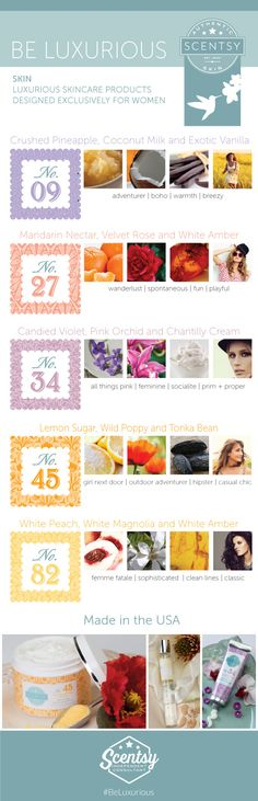 A new luxurious line of products for the skin! #scentsyskin #fortheladies www.ashleyturner.scentsy.us