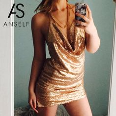 Anself 2017 Sexy Women Bodycon Sequin Dress Plung V Neck Split Summer Party  Dresses Robe Vintage Backless Club Dress Vestidos f2c87fe7fbc2