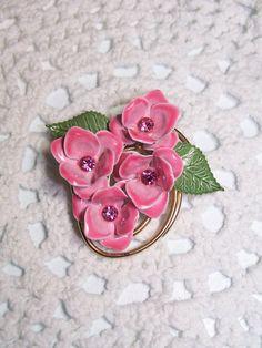 $18.00 Beautiful Pink and Green Enamel Hydrangea Brooch/pin!!!