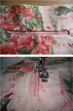 how to sew inside zipper pocket on handbag