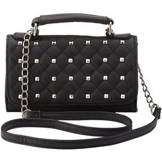 Charlotte Russe Studded Crossbody Flap Bag ($19) ❤ liked on Polyvore featuring bags, handbags, shoulder bags, black, faux leather crossbody, flap crossbody bag, quilted handbags, crossbody handbags and shoulder strap handbags