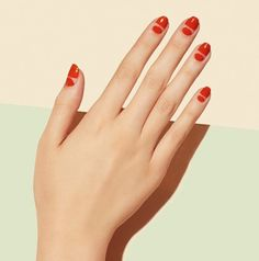 Red nails with stripes