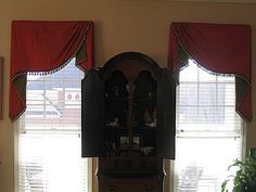 Board mounted Moreland valances with contrast lining and decorative trim to finish the look. Window Swags, Window Coverings, Window Treatments, Kitchen Cornice, Living Room Redo, Decorative Trim, Window Dressings, Window Styles, Home And Deco