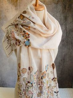 Linen voile, hand embroidered with linen thread. 20 x 56 inches. Embroidered portion on 14 inch hems.