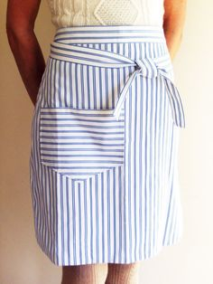 Chic blue black and white striped cotton half by NicoletteDawn, £9.50 Currently out of stock