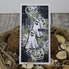 """Lisa Nygårds on Instagram: """"A few weeks ago @mezzanotteskapar had a live at @ciliinpapers and made cards with black background and I had to try it! Made this spooky…"""""""