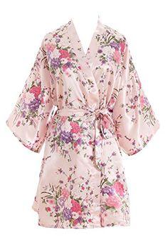 6d27ecc191 EPLAZA Women Floral Satin Robe Bridal Dressing Gown Wedding Bride  Bridesmaid Kimono Sleepwear (Acid Blue) at Amazon Women s Clothing store