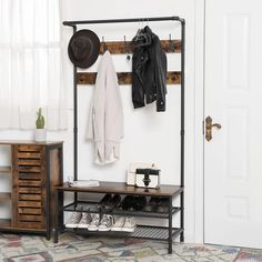 Metal Coat Rack with Wooden Bench and Two Wire Meshed Shelves, Brown and Black - By Casagear Home Wood Storage Bench, Entryway Storage, Shoe Storage, Entryway Furniture, Diy Bench, Entryway Bench, Storage Bins, Entryway Decor, Modern Furniture