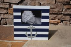 Hand Painted Navy and Grey Anchor Picture Frame . .Navy Blue and White Stripes. . Nautical . .Boys Ocean Bedroom Nursery Bathroom Playroom