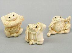 Salón Internacional de Artesanía - Netsuke Animal 2 de mamut y de marfil de hipopótamo esculturas, netsuke, joyas