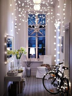 Fairy lights in a hallway