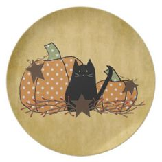 Cat & Pumpkins Plate by MousefxArt.Com (Mouse Country Store)