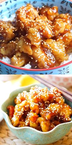 Sesame Chicken - crispy chicken with sweet, savory sauce with lots of sesame see. Sesame Chicken - crispy chicken with sweet, savory sauce with lots of sesame seeds. This recipe is better than Chine Good Food, Yummy Food, Tasty, Cooking Recipes, Healthy Recipes, Wok Recipes, Shrimp Dinner Recipes, Korean Food Recipes, Japanese Food Recipes