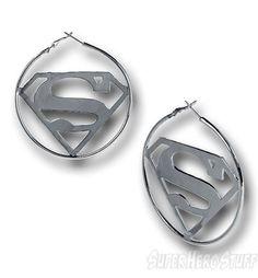 Superman Symbol Hoop Earrings - I love these! :)