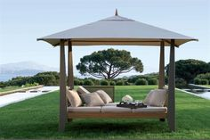 I want this to use as an outdoor bedroom! Covered double chaise lounge from les jardins (au bout du monde collection), sold by PatioWorld in California. Seen in an ad in Architectural Digest. Patio Furniture Covers, Garden Furniture, Outdoor Furniture, Outdoor Decor, Outdoor Bedroom, Outdoor Living, Gazebo, Pergola, Solar Garden Lanterns