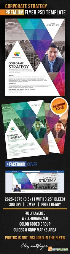 Corporate Strategy – Flyer PSD Template + Facebook Cover