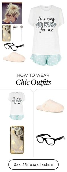 """Goodnight"" by clouded4ever on Polyvore featuring New Look, UGG Australia, Skinnydip, Kate Spade and Ray-Ban"