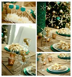 Love the glam, cheerful blend of rich gold and zingy teal at work in this fun holiday table decor. This is the kind of setup that I would use for Christmas!
