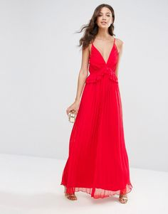 Image 4 ofASOS TALL Pleated Skirt Maxi Dress with Ruffle Top