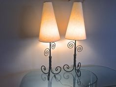 Pair Wrought Iron Table Lamps with Cone Shades by OffCenterModern on Etsy
