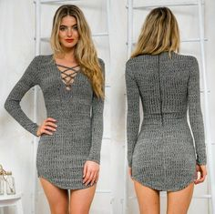 Gray Plunge Lattice Lace Up Long Sleeve Bodycon Mini Dress
